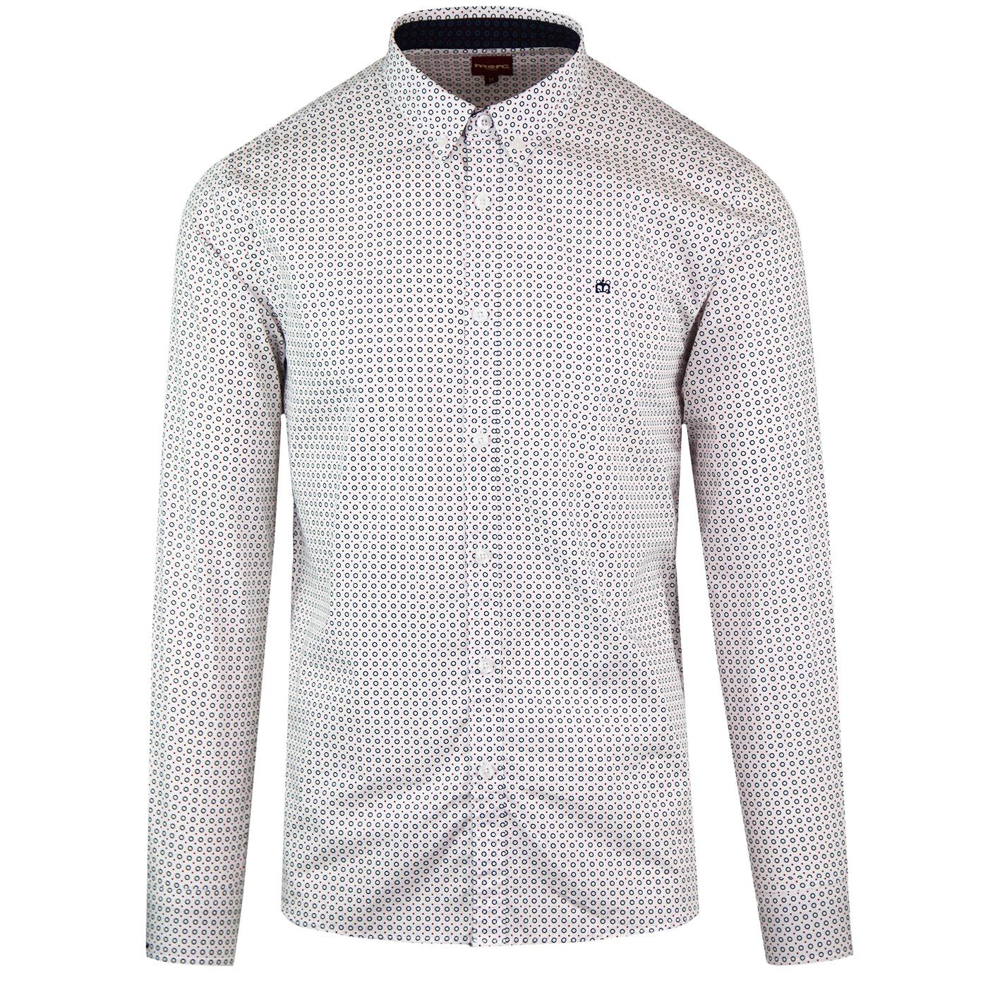 Squire MERC Retro Mod Geo Circle Print Shirt White