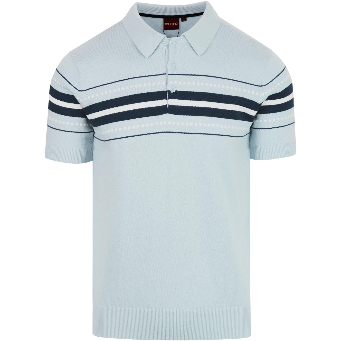Tanner MERC 1960s Mod Chest Stripe Knit Polo (Sky)