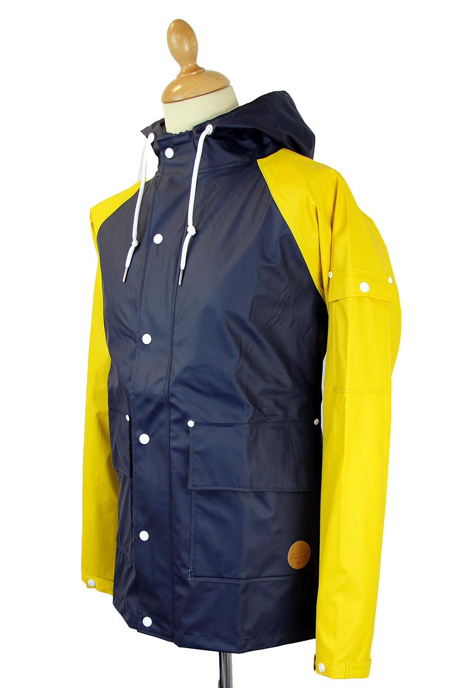 e2e3b1e4a NATIVE YOUTH Retro Indie Contrast Sleeve Fisherman Jacket Navy