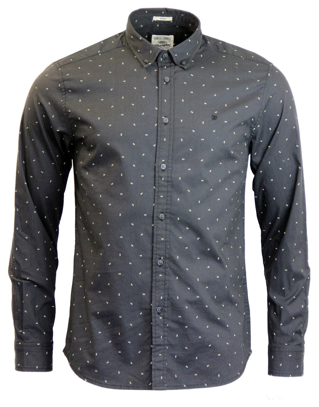 WRANGLER Micro Arrow Print Button Down Retro Shirt