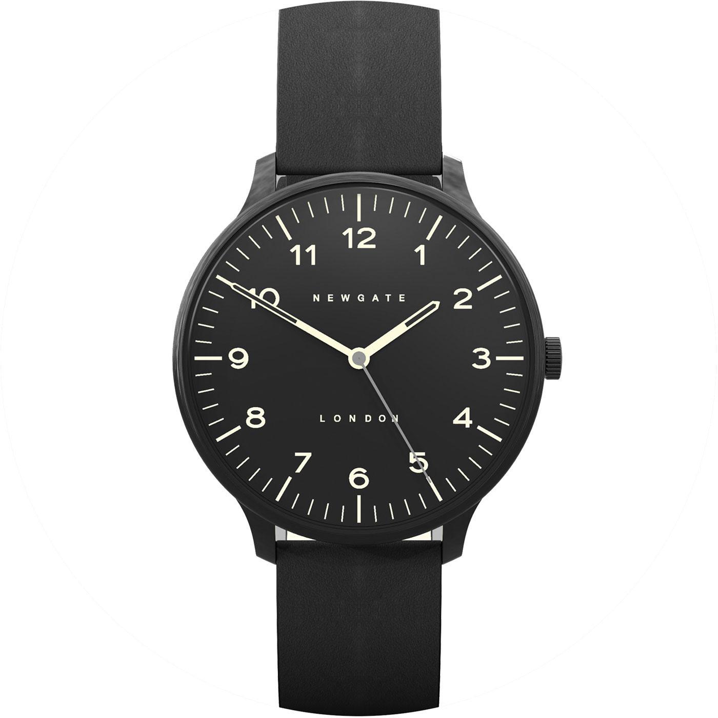 The Blip NEWGATE CLOCKS Retro Leather Watch Black