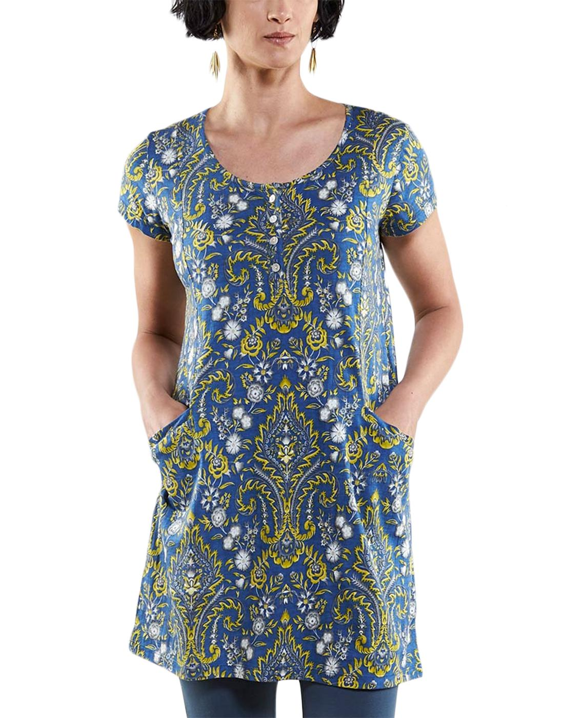 NOMADS Retro 60s Paisley Mod Henley Tunic Dress
