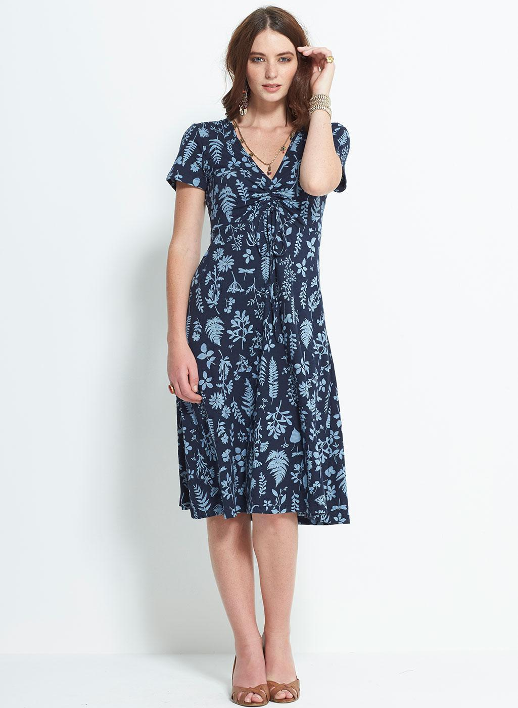 NOMADS Retro Floral Botanical Organic Cotton Dress