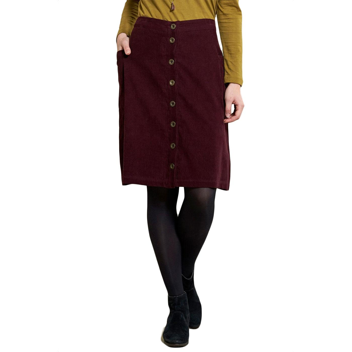 Button Front NOMADS Retro Cord Midi Skirt In Plum