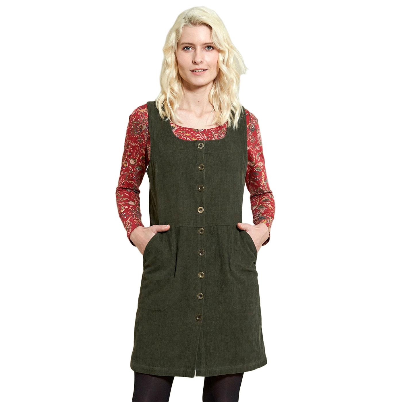 Button Front NOMADS Retro Cord Pinafore In Khaki