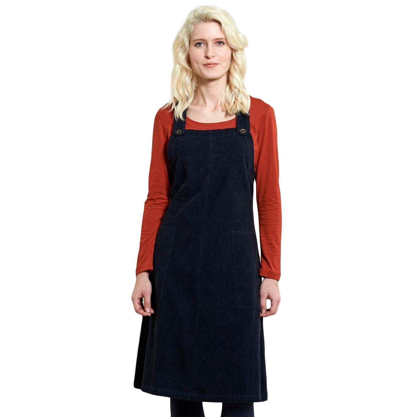 Dungaree NOMADS 60s Retro Cord Dress In Navy Blue