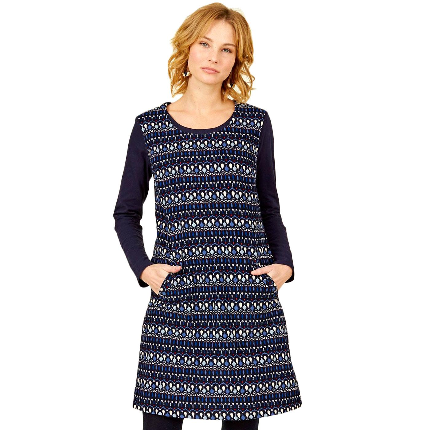 NOMADS Button Back 60s Cord Printed Pinafore Dress