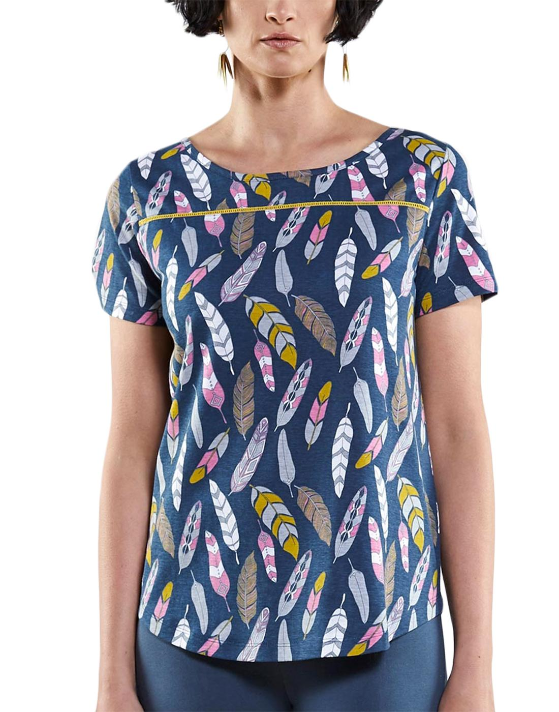 NOMADS Womens Retro 70s Feather Print T-Shirt Top