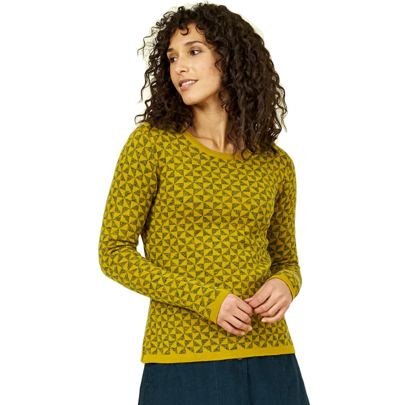 NOMADS Fitted Jacquard Kite Knit Jumper In Citron
