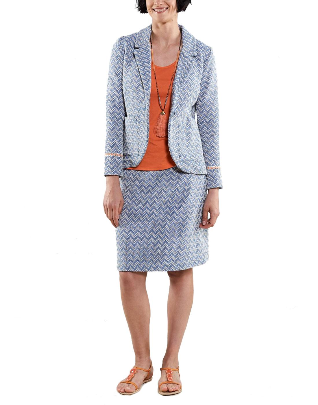 NOMADS Womens Retro Handloom Tailored Skirt Suit