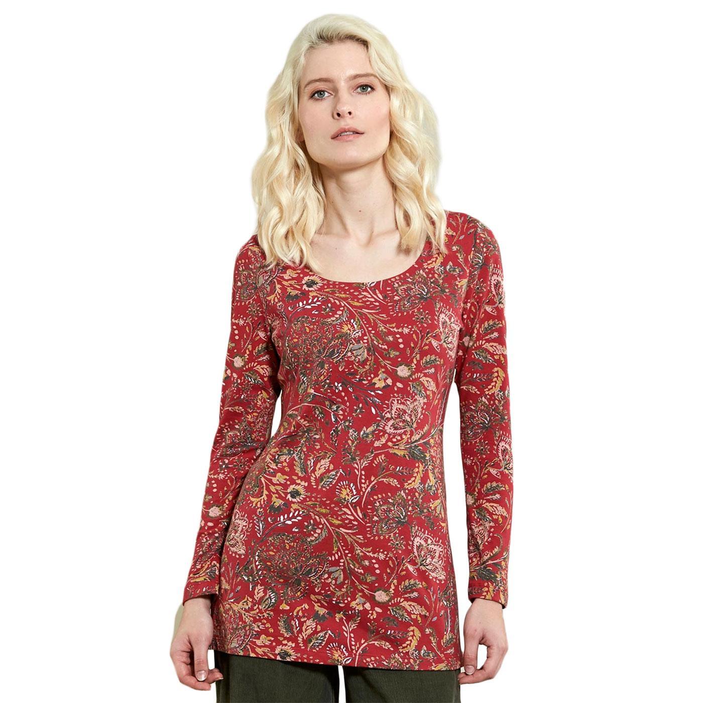 Printed NOMADS Vintage Floral Long T-Shirt Rubine