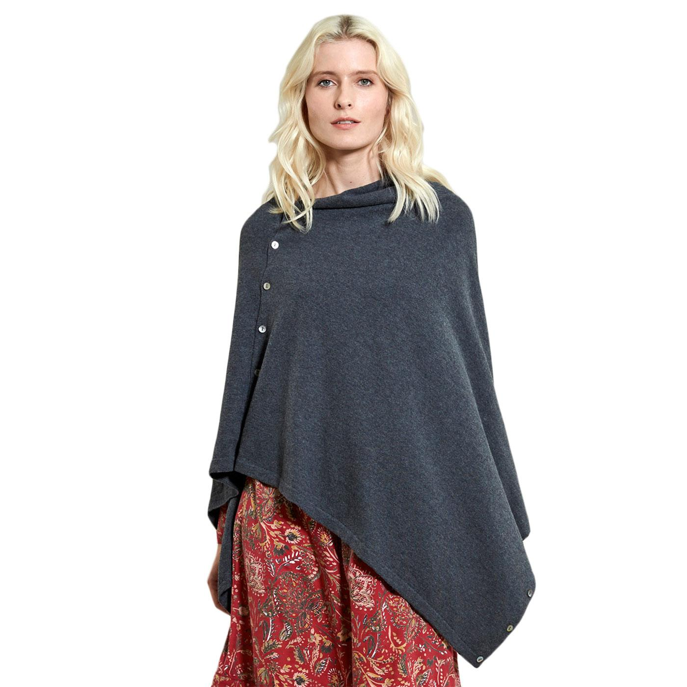 Button Up NOMADS Vintage Wool Poncho In Granite