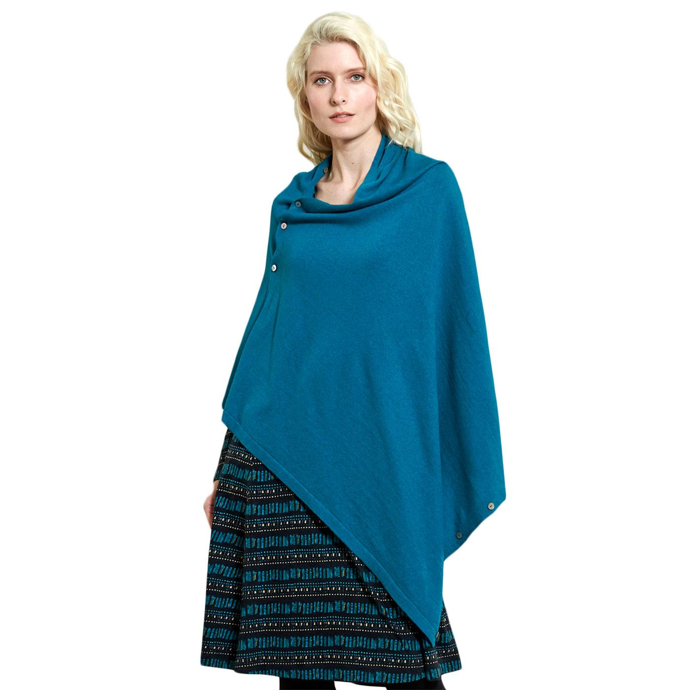 Button Up NOMADS Vintage Wool Poncho In Turquoise