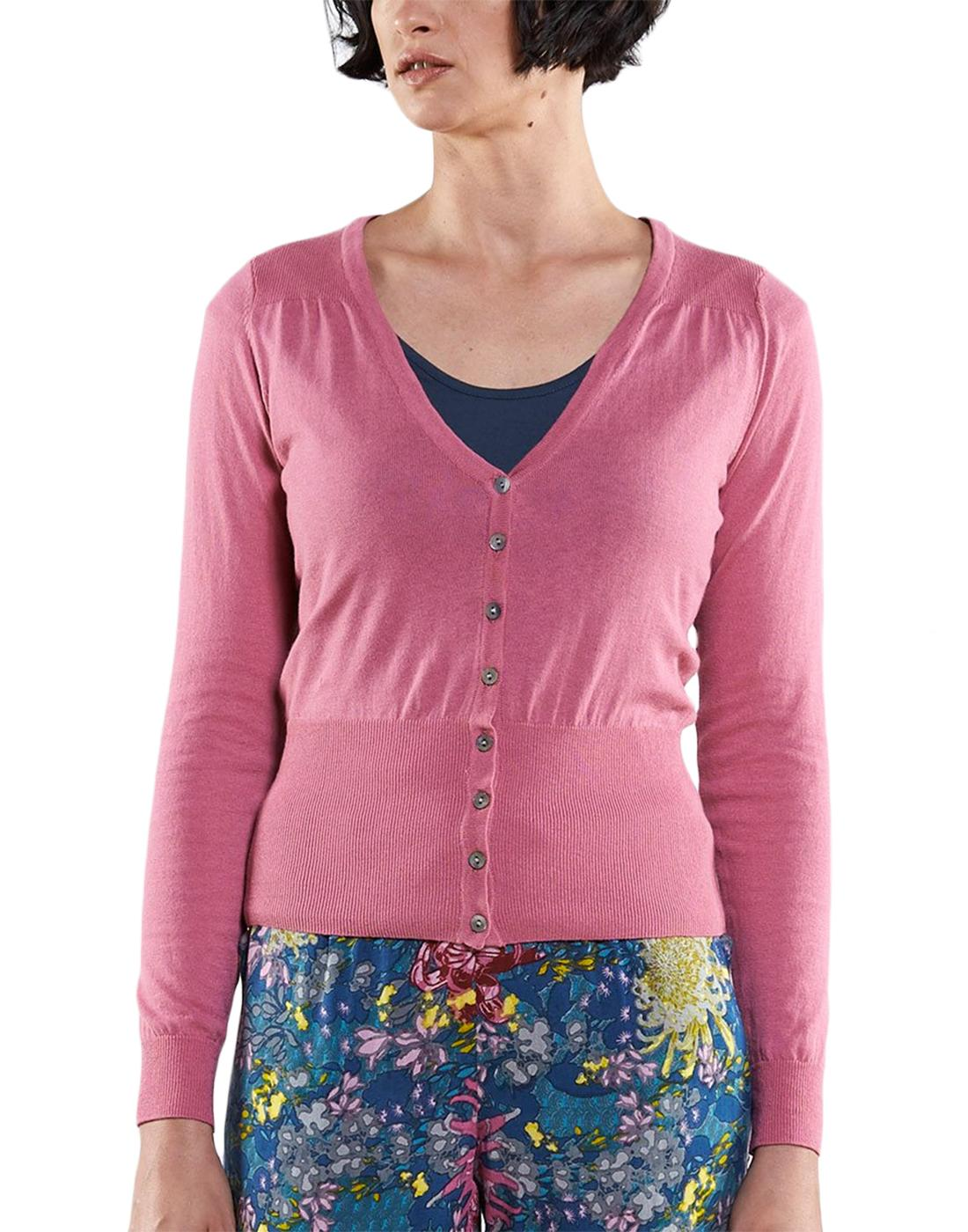 NOMADS Retro 50s Style Fitted Cardigan in Pink