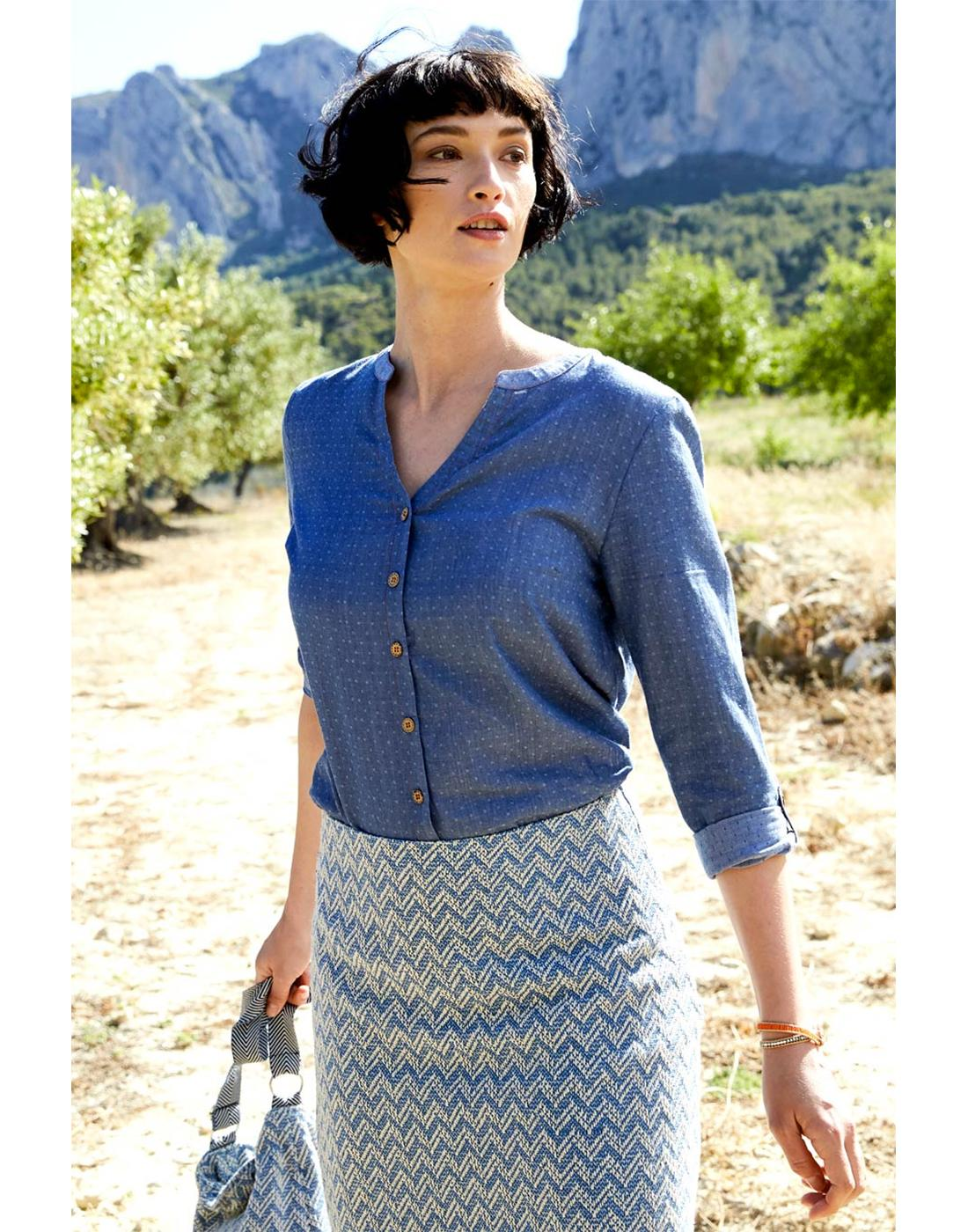 NOMADS Womens Retro Handloom Pin Dot Shirt