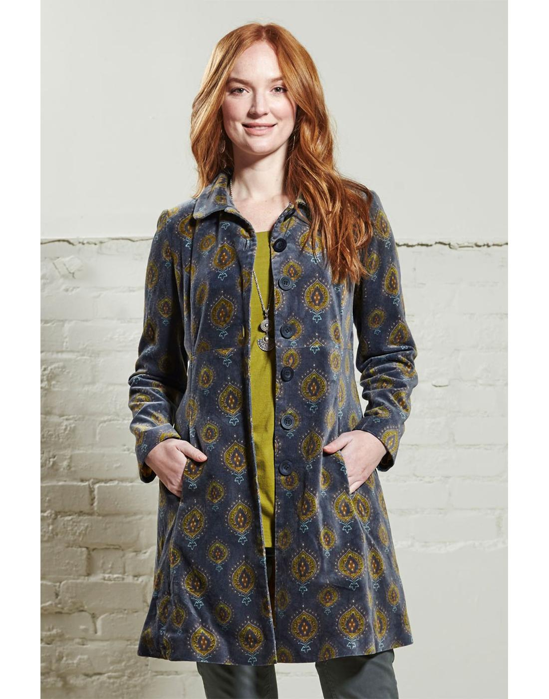 NOMADS Retro 70s Velvet Teardrop Coat in Pewter