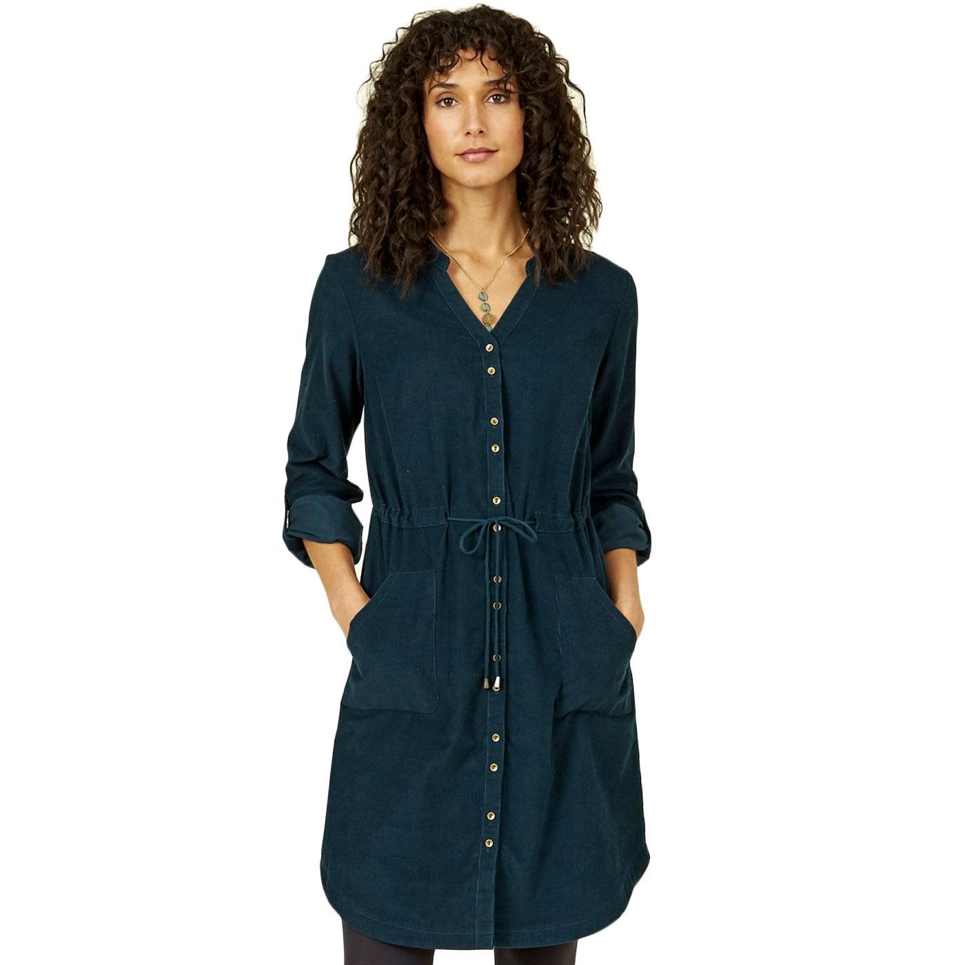 NOMADS 70s Vintage Ruched Waist Cord Shirt Dress