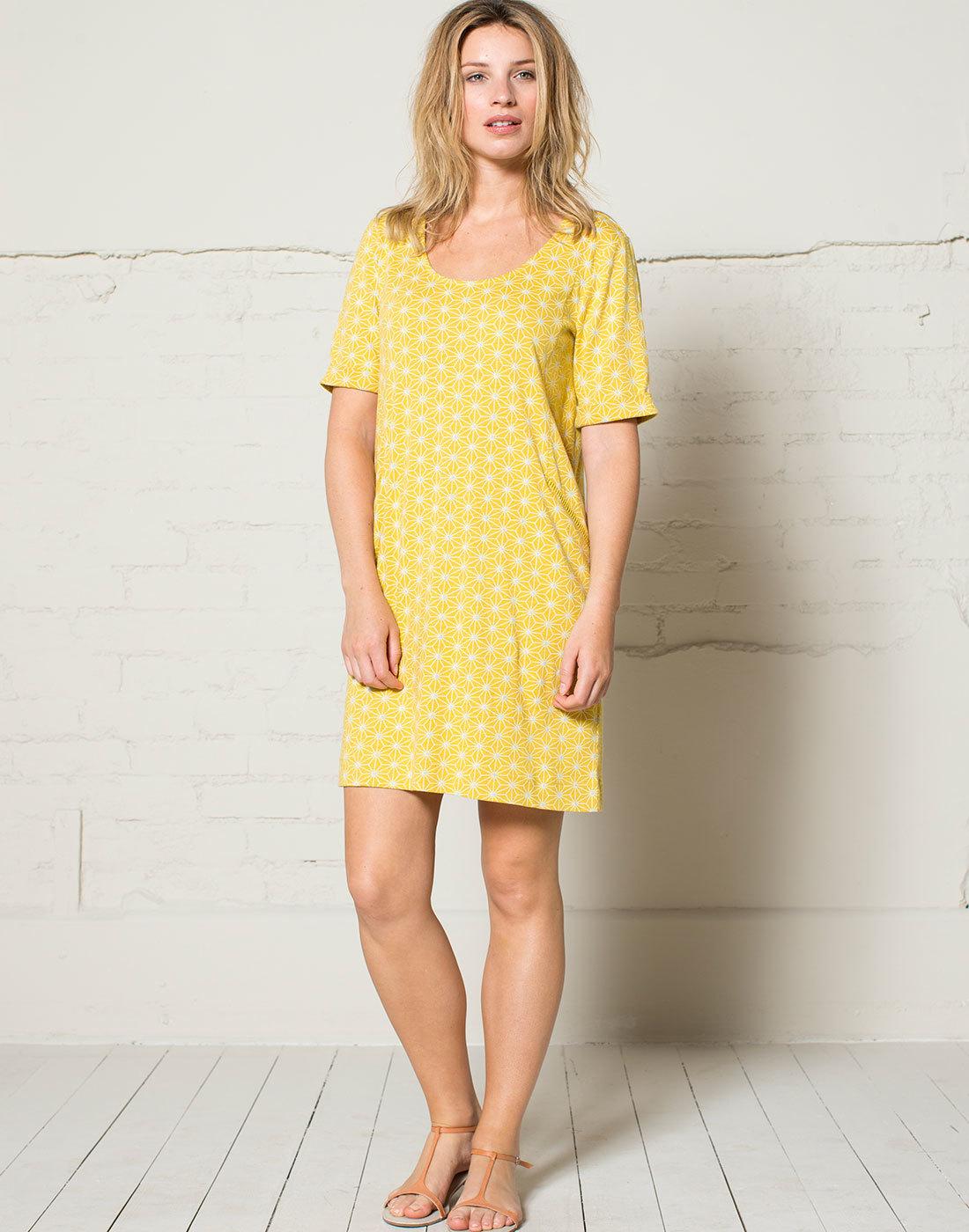 NOMADS 60s Geo Star Fair Trade Pocket Tunic Dress
