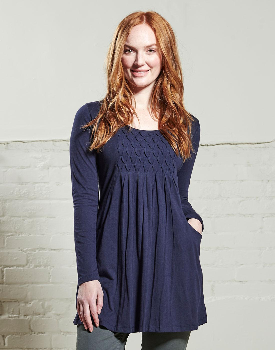 NOMADS Retro Vintage Zigzag Pintuck Tunic in Navy