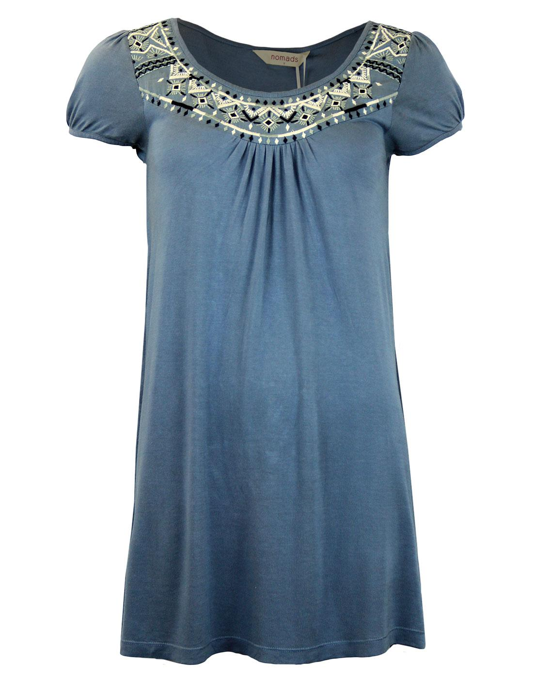 NOMADS Retro 70s Embroidered Neckline Tunic Top