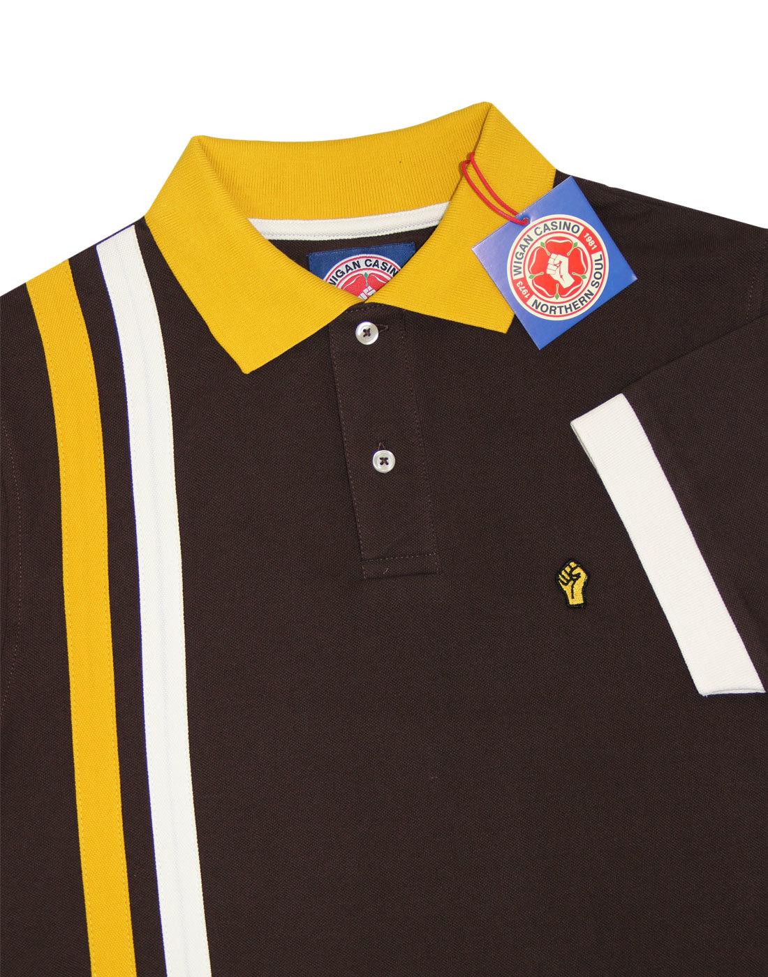 324c491f WIGAN CASINO Men's Mod Northern Soul Racing Stripe Polo in Brown