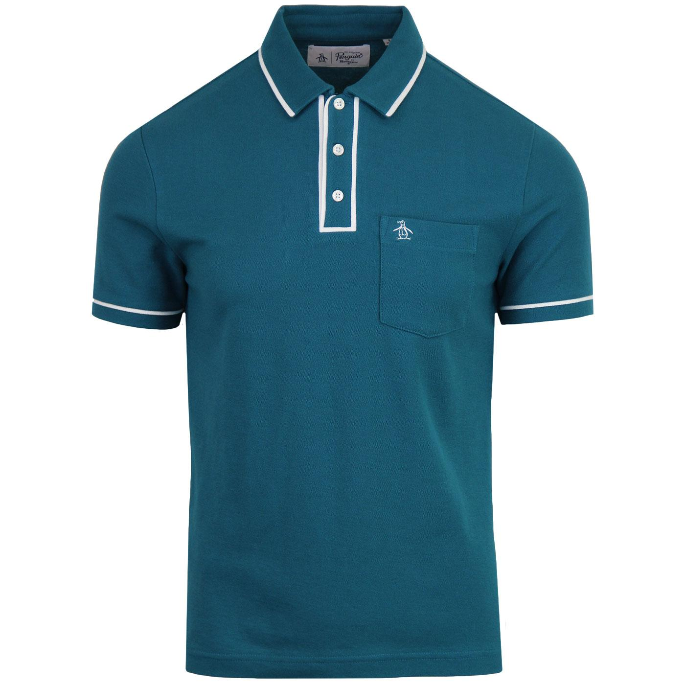 Earl ORIGINAL PENGUIN 60s Mod Tipped Polo Top (D)