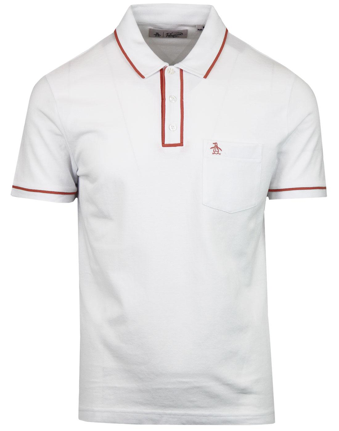Earl ORIGINAL PENGUIN Mens Mod Polo Top WHITE/PINK