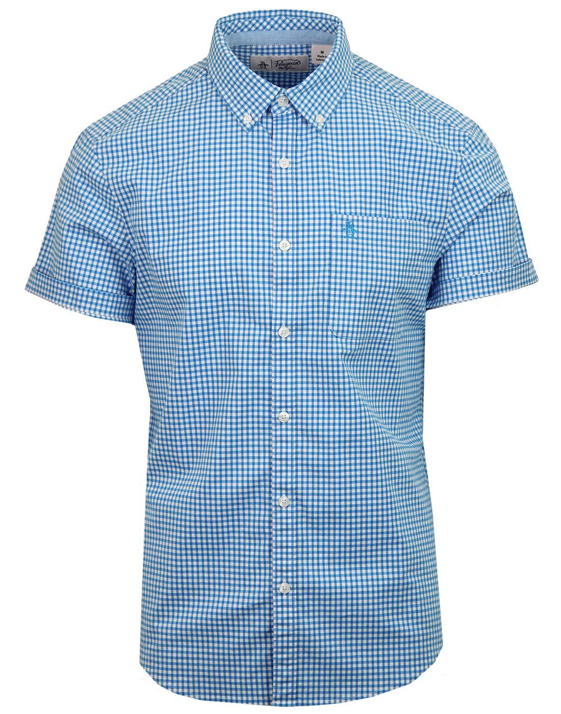 ORIGINAL PENGUIN Short Sleeve Gingham Shirt BLUE