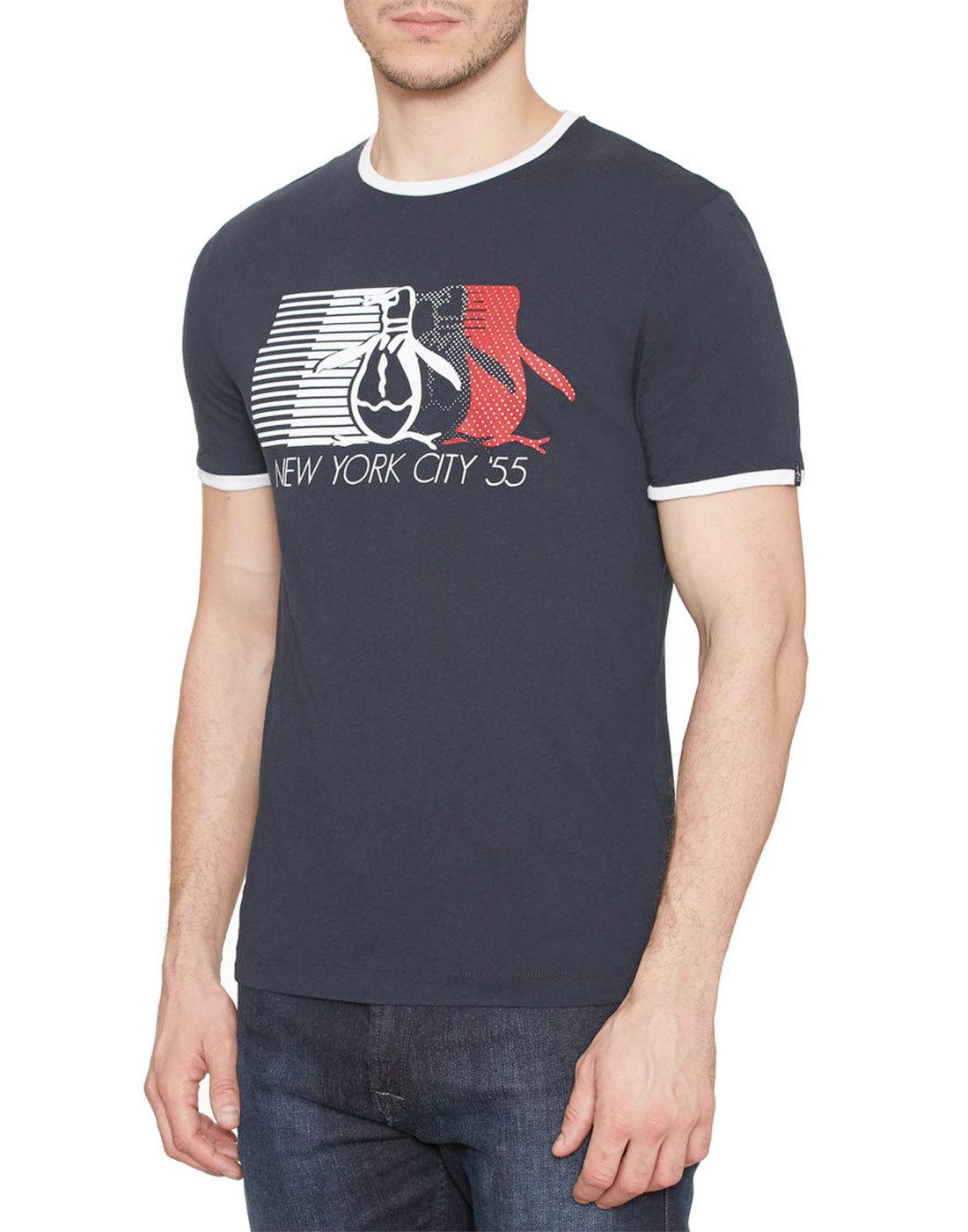 ORIGINAL PENGUIN Men's Retro 70s NYC T-Shirt Navy