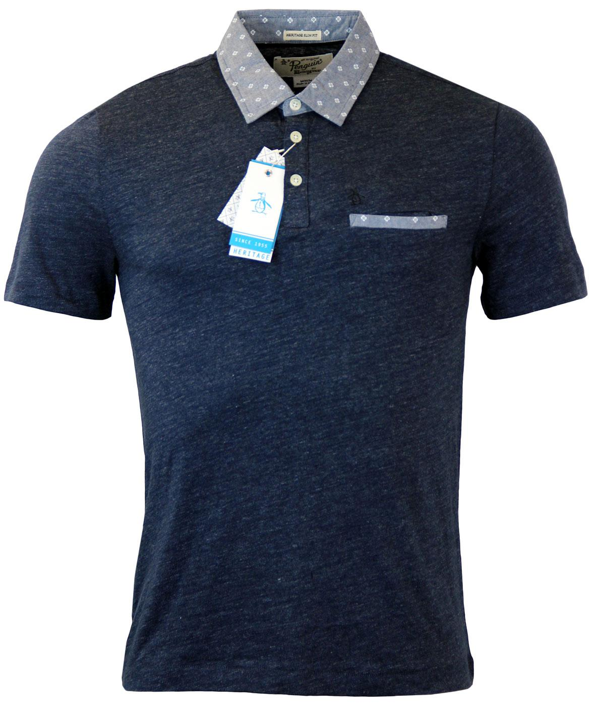 Mullined ORIGINAL PENGUIN Retro Mod Slub Polo
