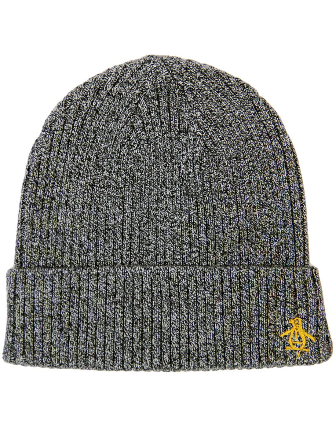 0e78337c7748d ORIGINAL PENGUIN Retro Twisted Yarn Ribbed Beanie Hat Dark Shadow