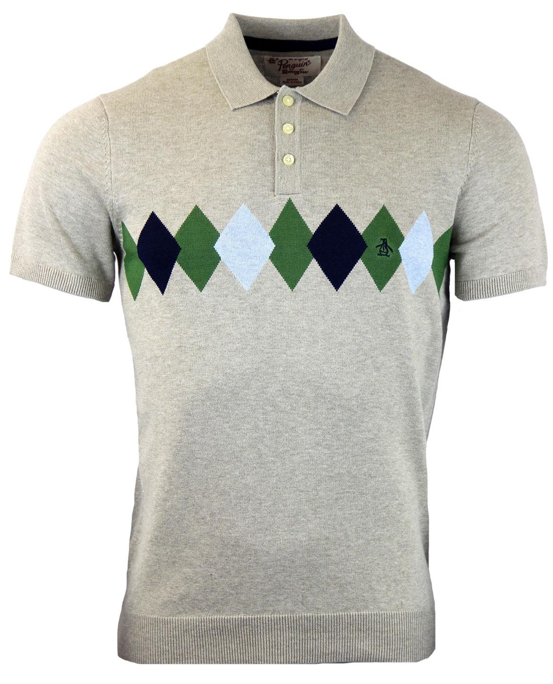 e6acd197b ORIGINAL PENGUIN Retro 60s Mod Knitted Argyle Polo in London Fog