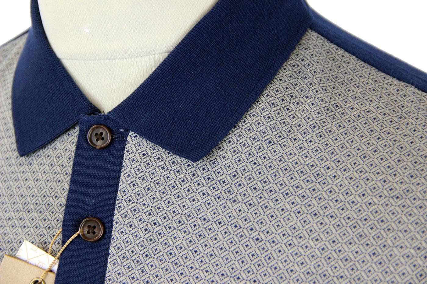 1104e503 ORIGINAL PENGUIN Prant Retro 60s Mod Diamond Jacquard Polo Blue