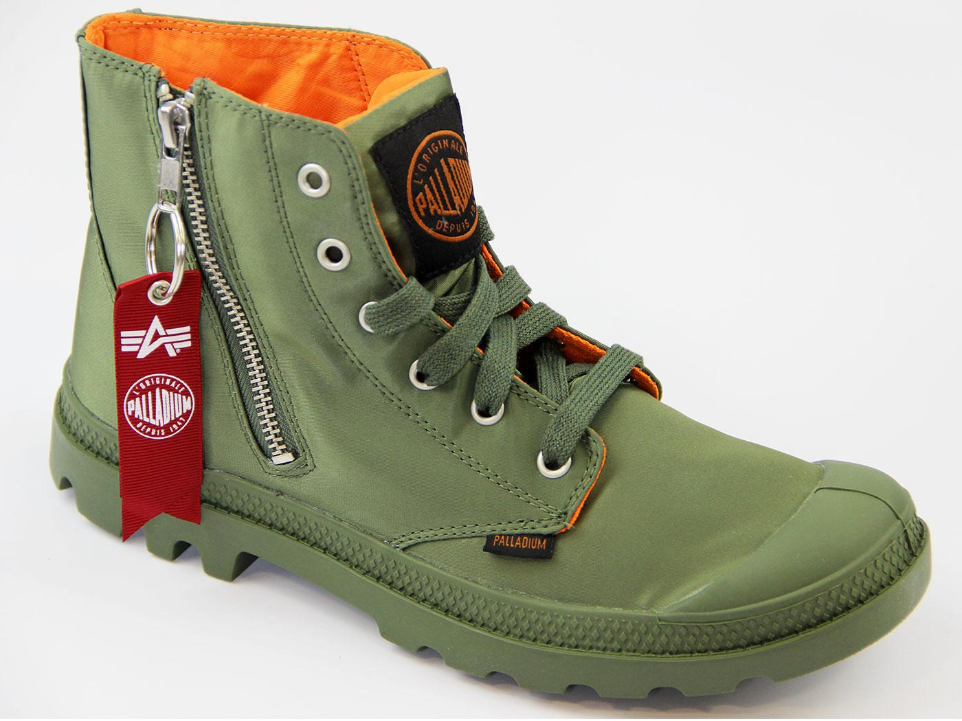11edcec366 PALLADIUM Pampa Hi Zip MA-1 ALPHA INDUSTRIES Retro Boots Sage