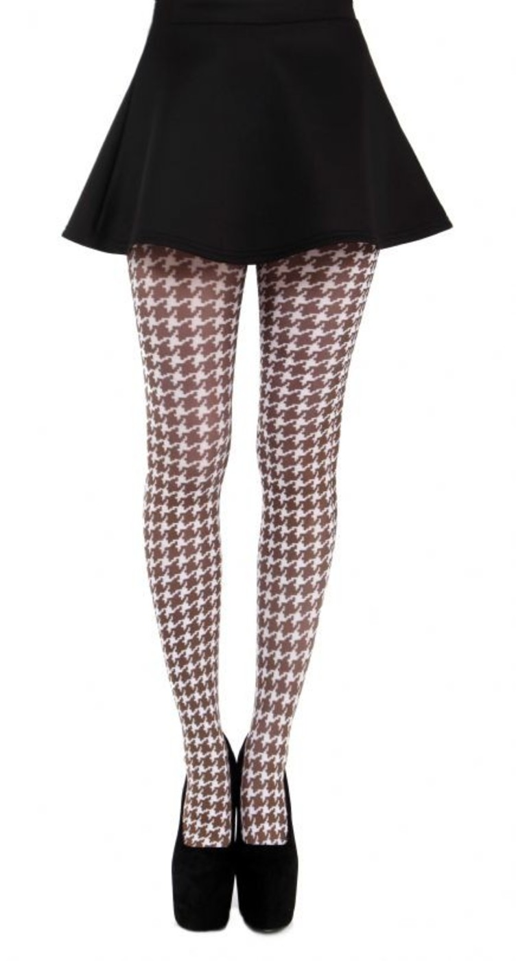 + PAMELA MANN Retro 60s Mod Small Dogtooth Tights