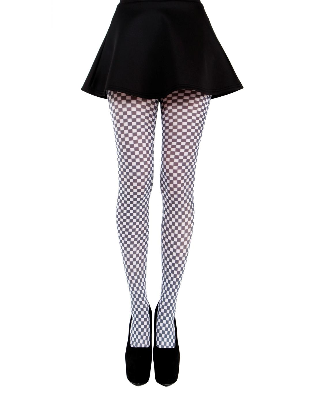 + PAMELA MANN Retro 60s Mod Gingham Print Tights