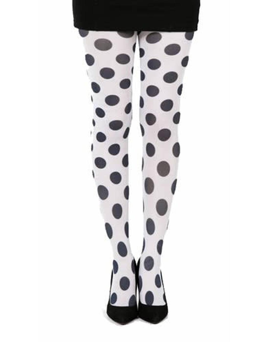 + PAMELA MANN Retro 60s Mod Penny Dot Tights WHT