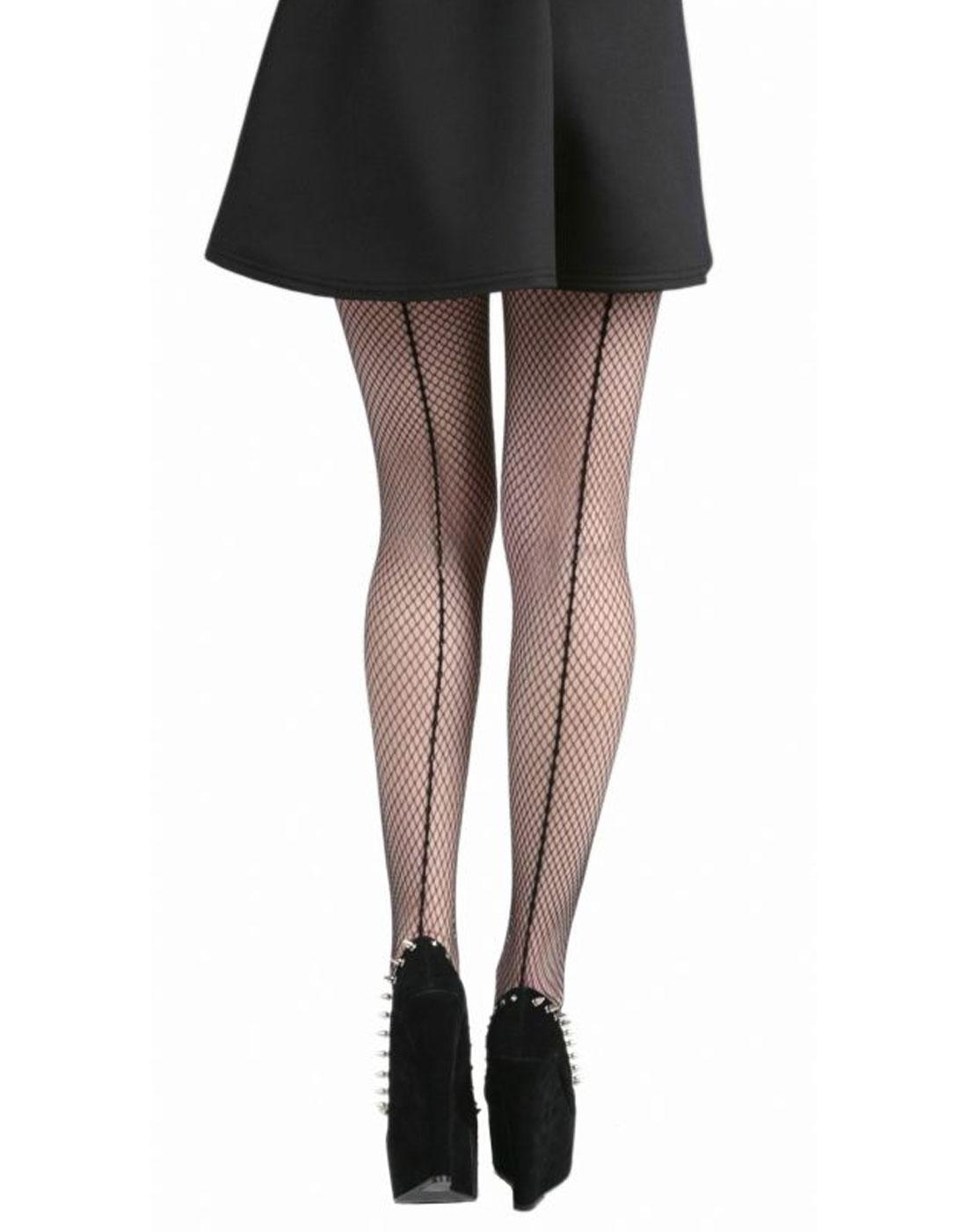 + PAMELA MANN Fishnet Tights with Seam in Black