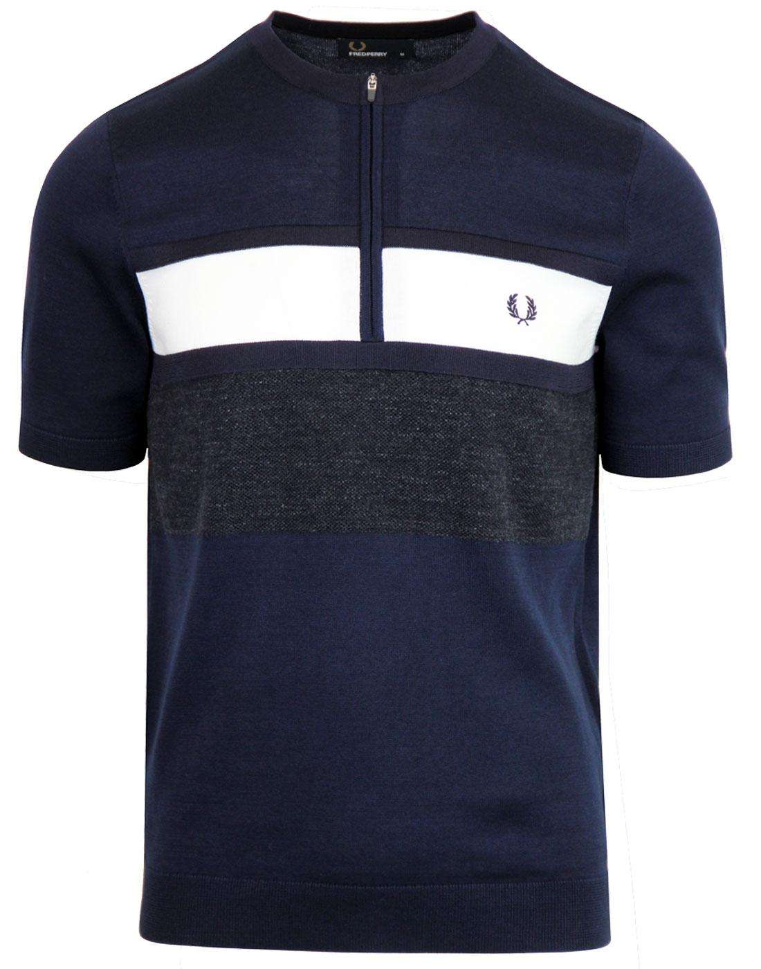 FRED PERRY Retro Knitted Zip Neck Mod Cycling Top