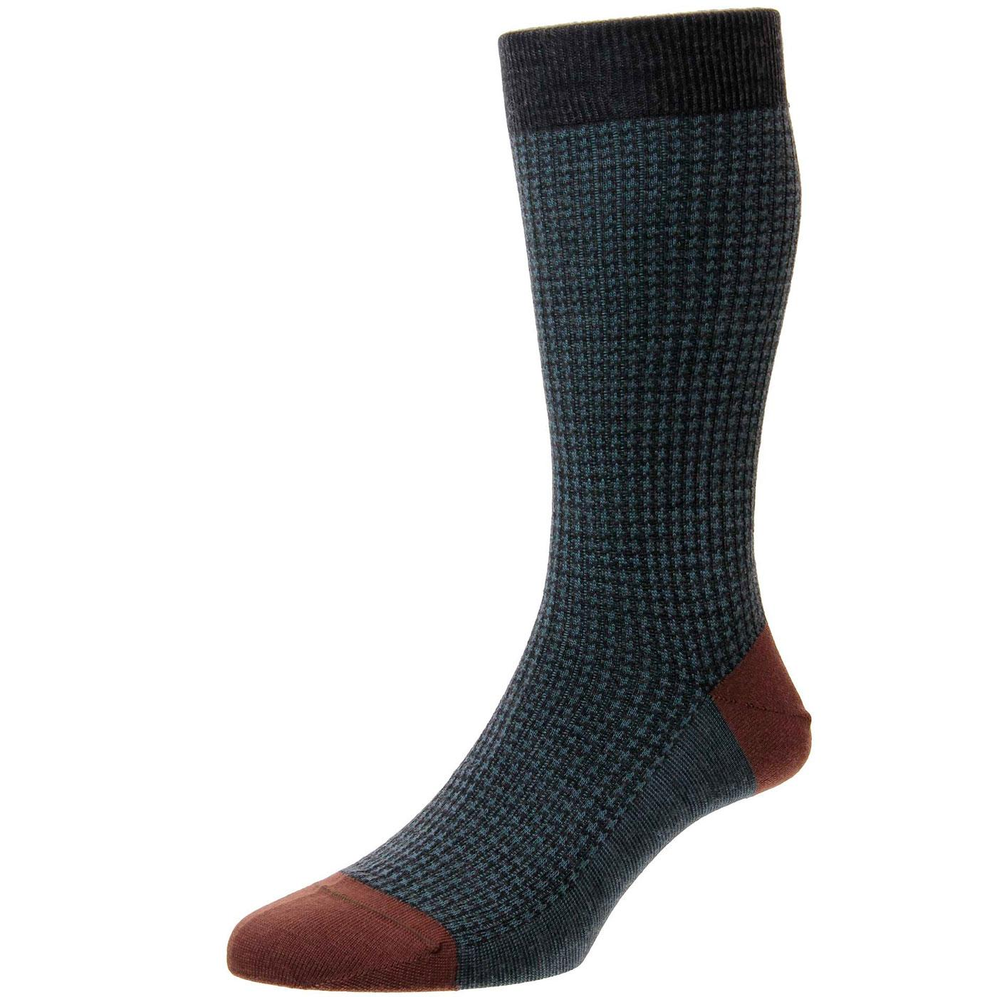 + Hatherley PANTHERELLA Houndstooth Socks CHARCOAL