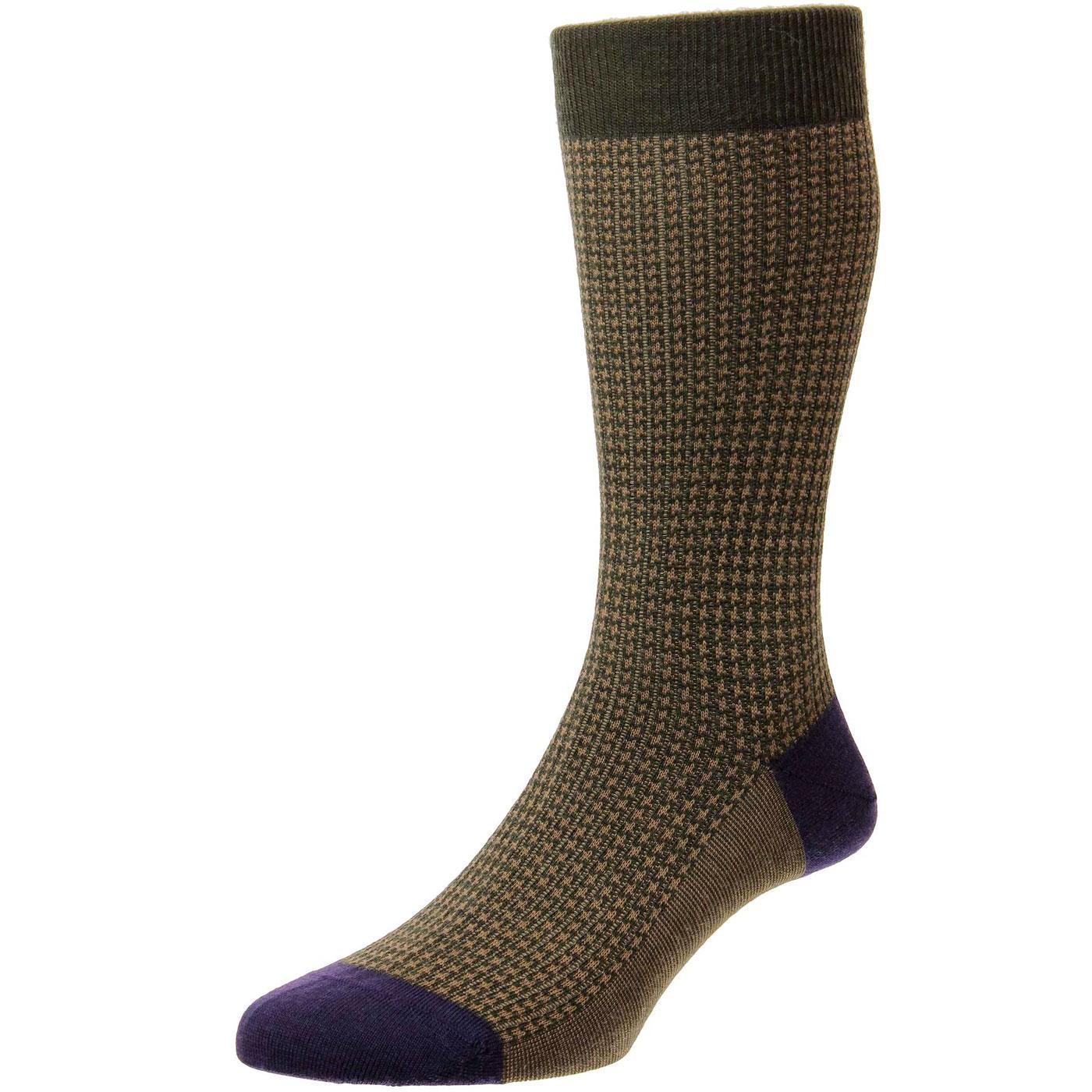 + Hatherley PANTHERELLA Houndstooth Socks (Olive)