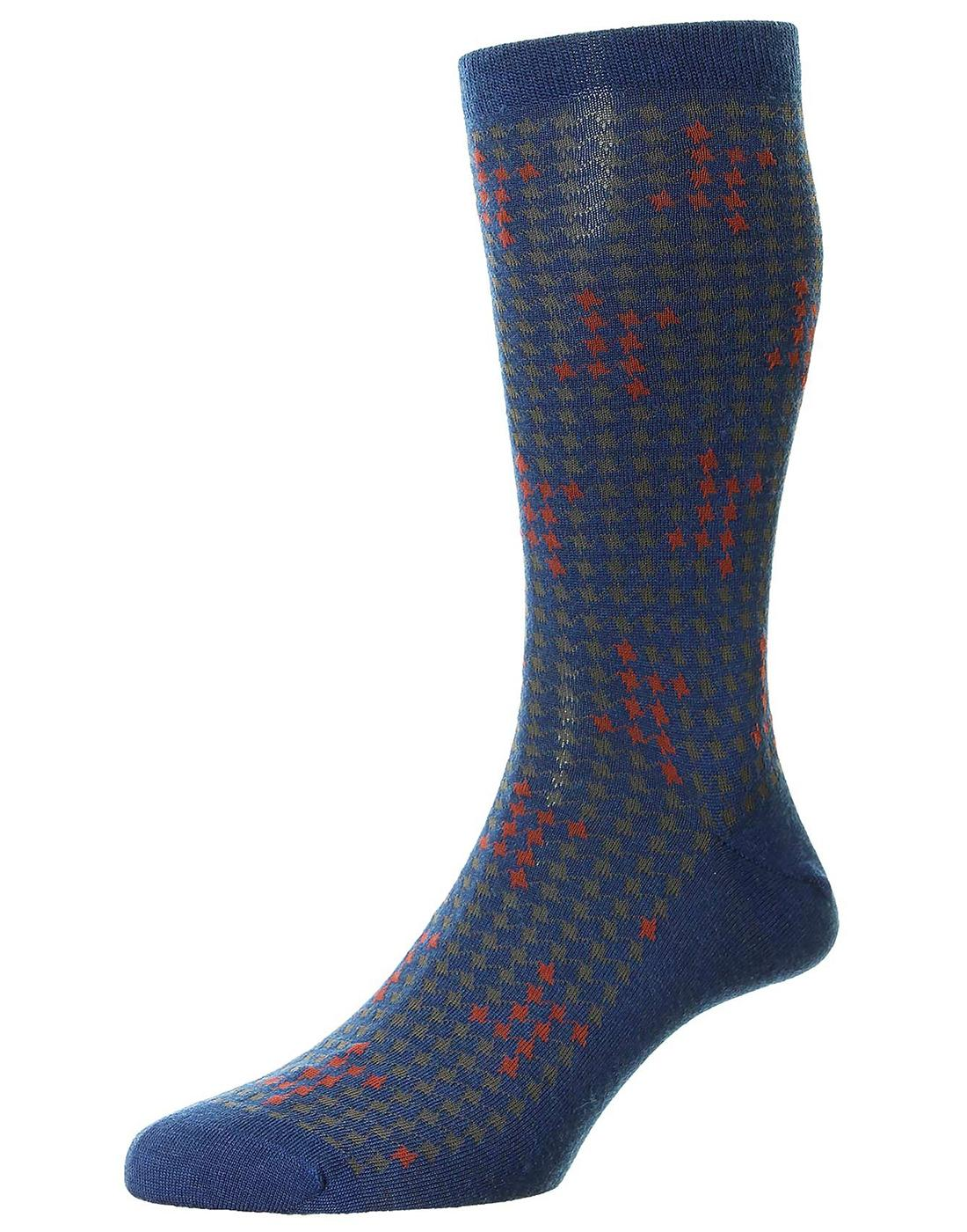 +Hopton PANTHERELLA Mod Houndstooth Merino Socks B