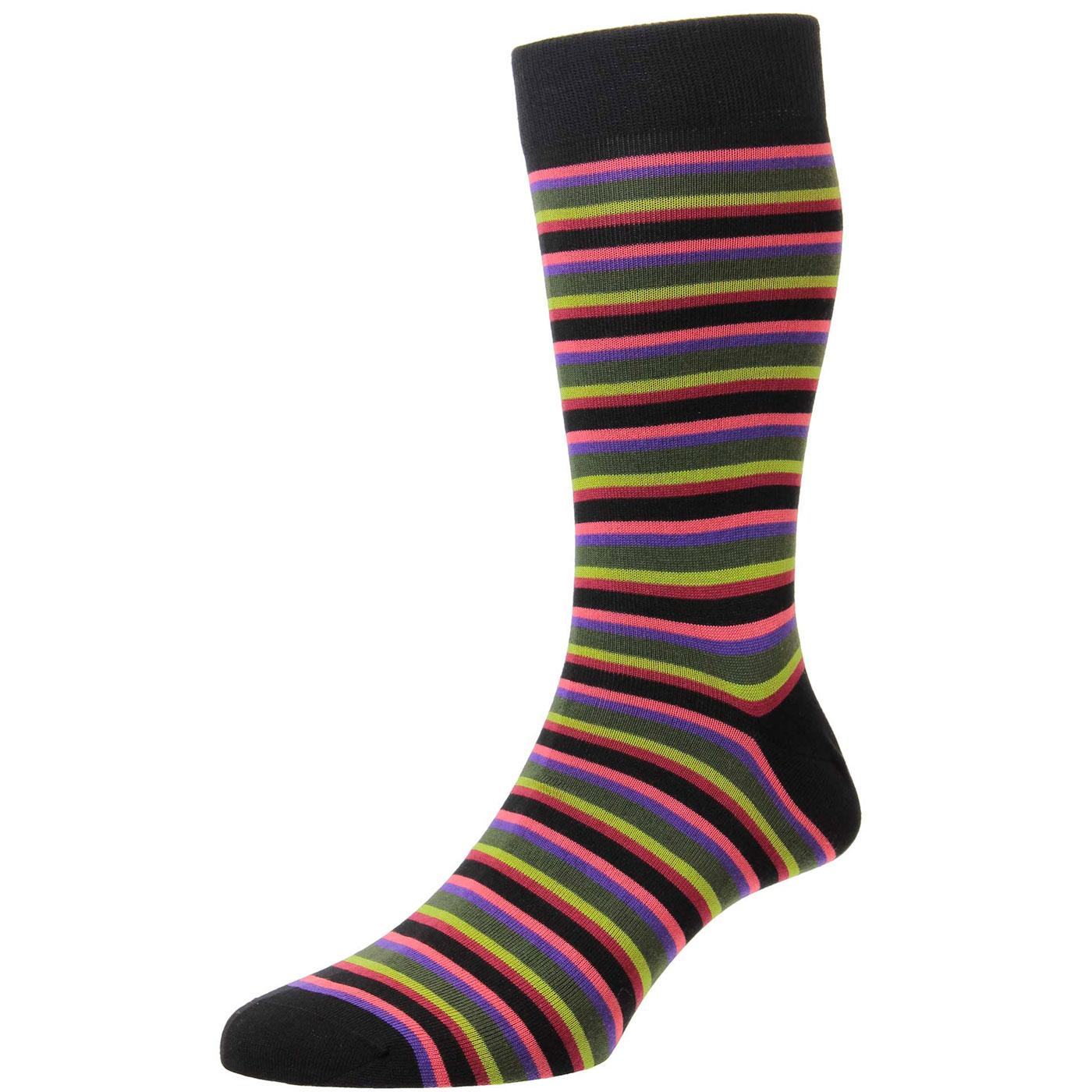 + Meier PANTHERELLA Retro Mod Stripe Socks (BLACK)