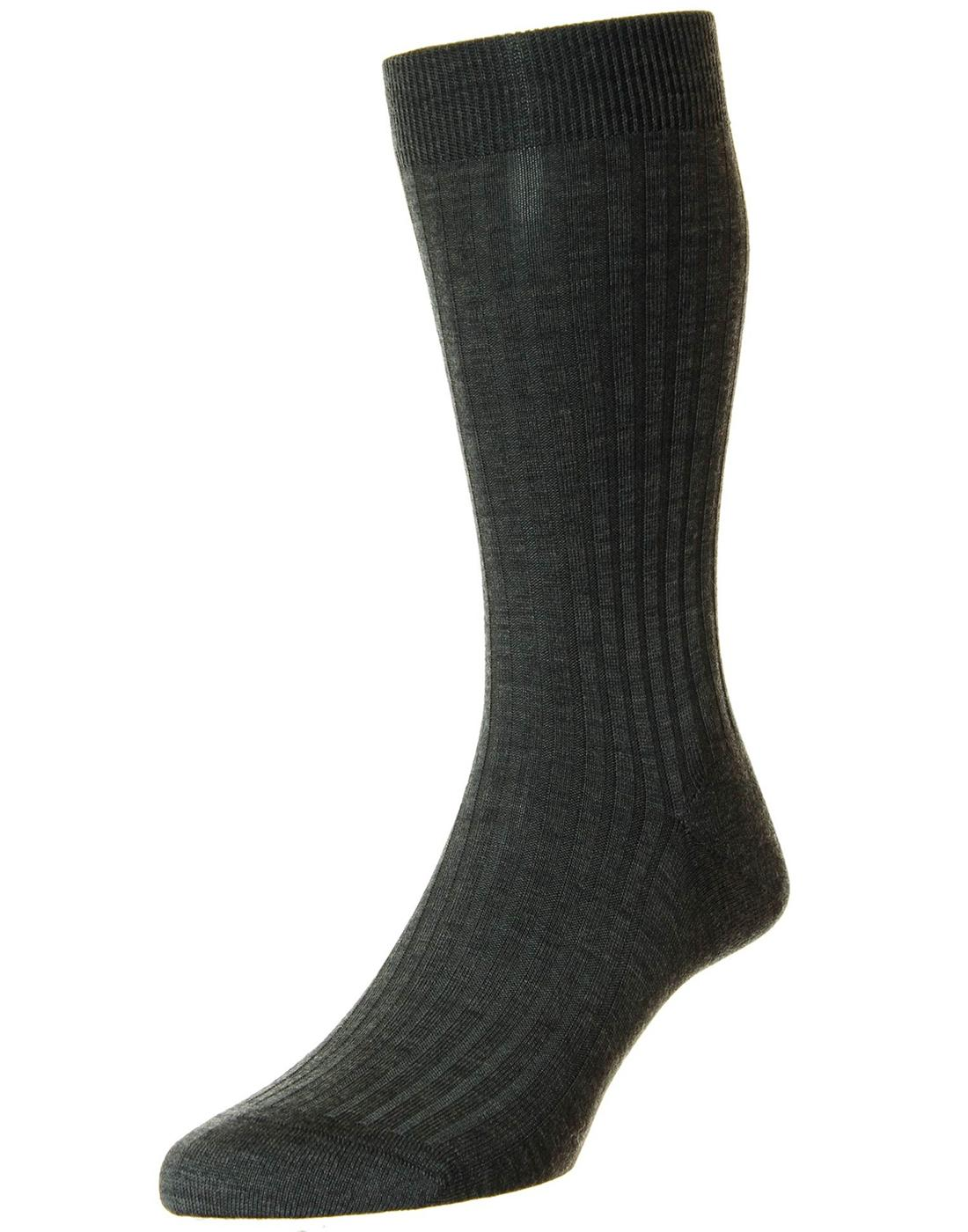 + PANTHERELLA Retro Mod Plain Knit Ribbed Socks DG