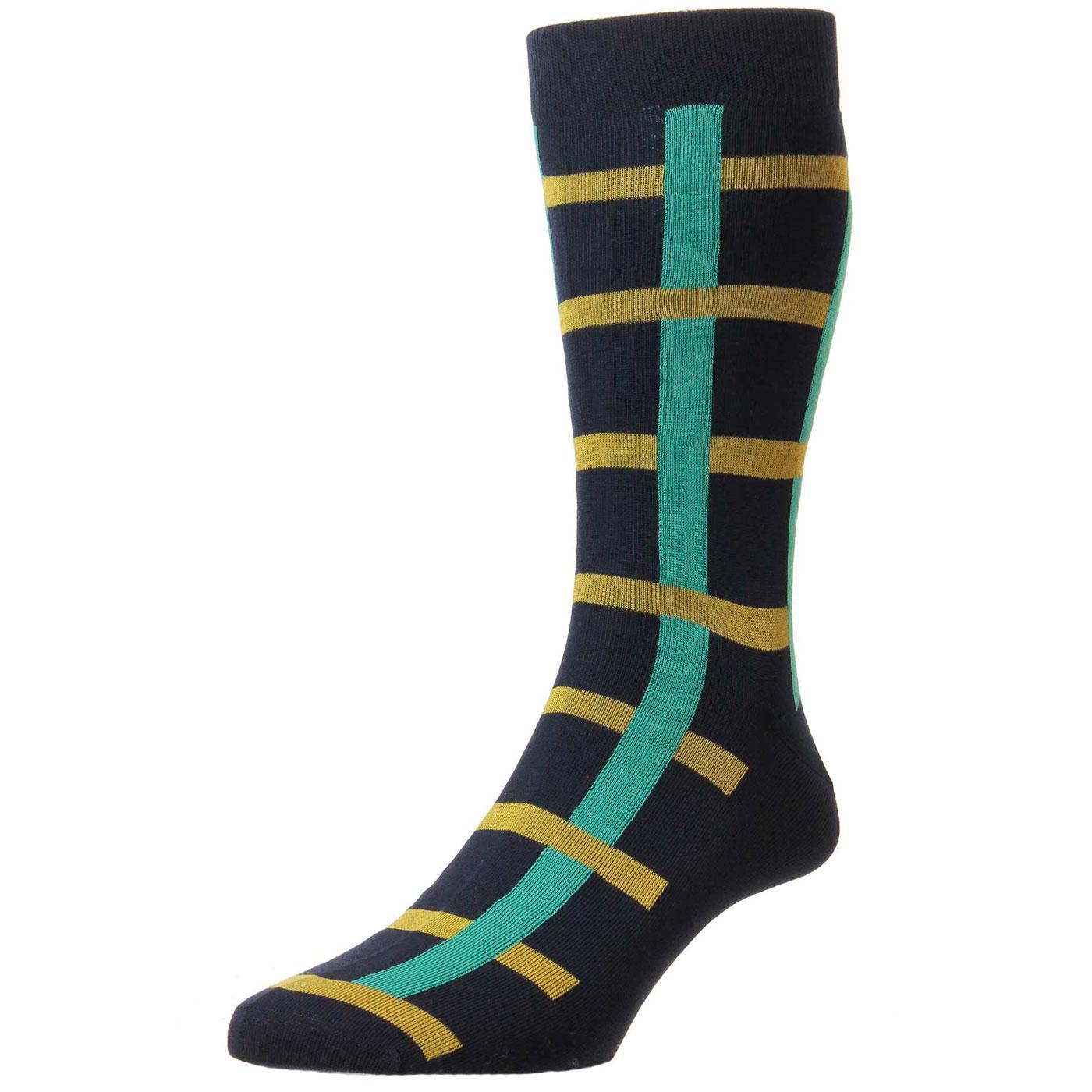 +Halston PANTHERELLA Mens Vintage Windowpane Socks