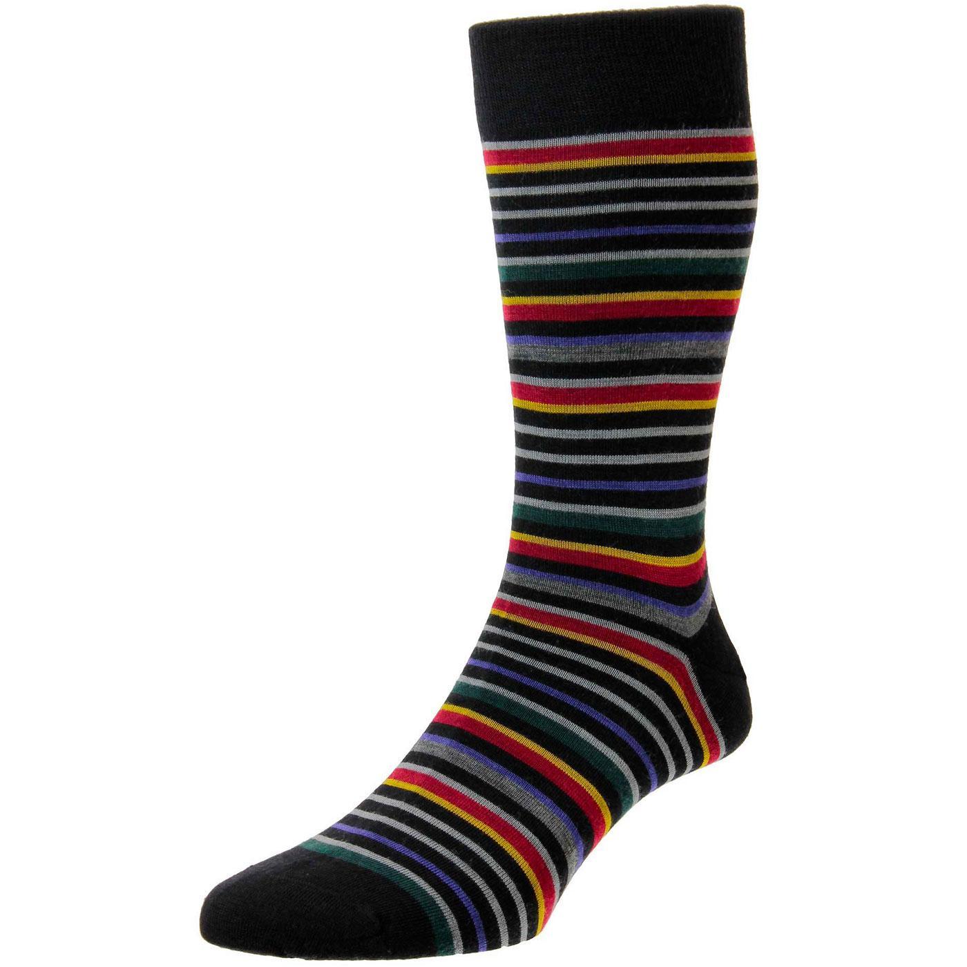 + Sutnar PANTHERELLA Retro Mod Stripe Socks BLACK