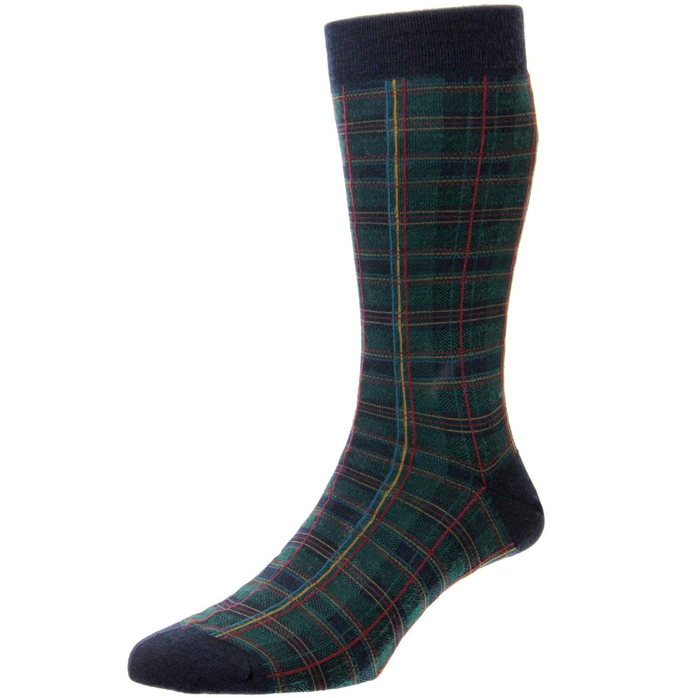 + Tarlton PANTHERELLA Retro Mod Tartan Socks NAVY