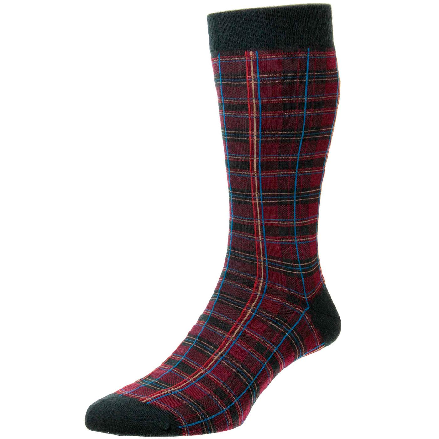 + Tarlton PANTHERELLA Retro Mod Tartan Socks GREEN