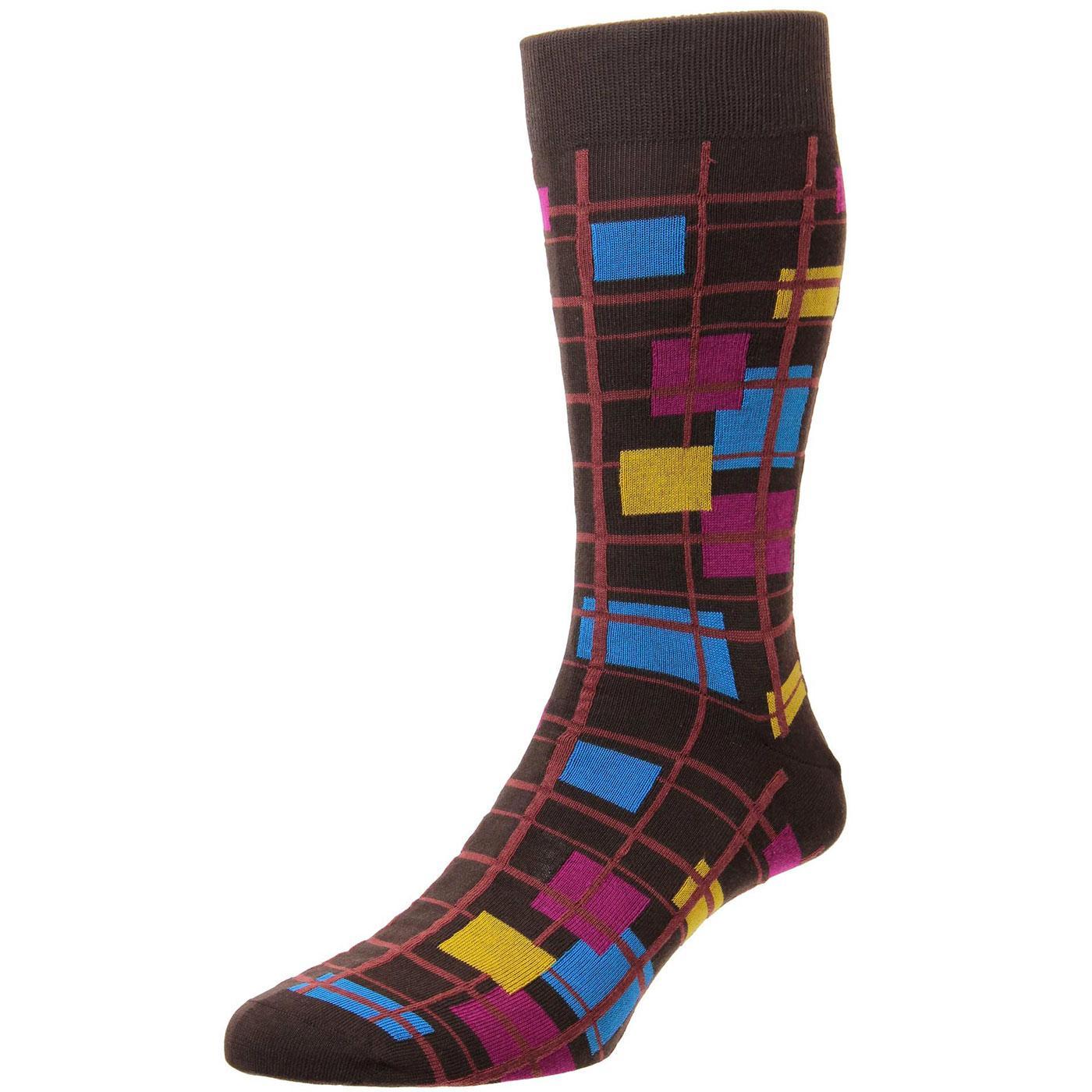 + Wright PANTHERELLA Mondrian Check Socks (Mocha)