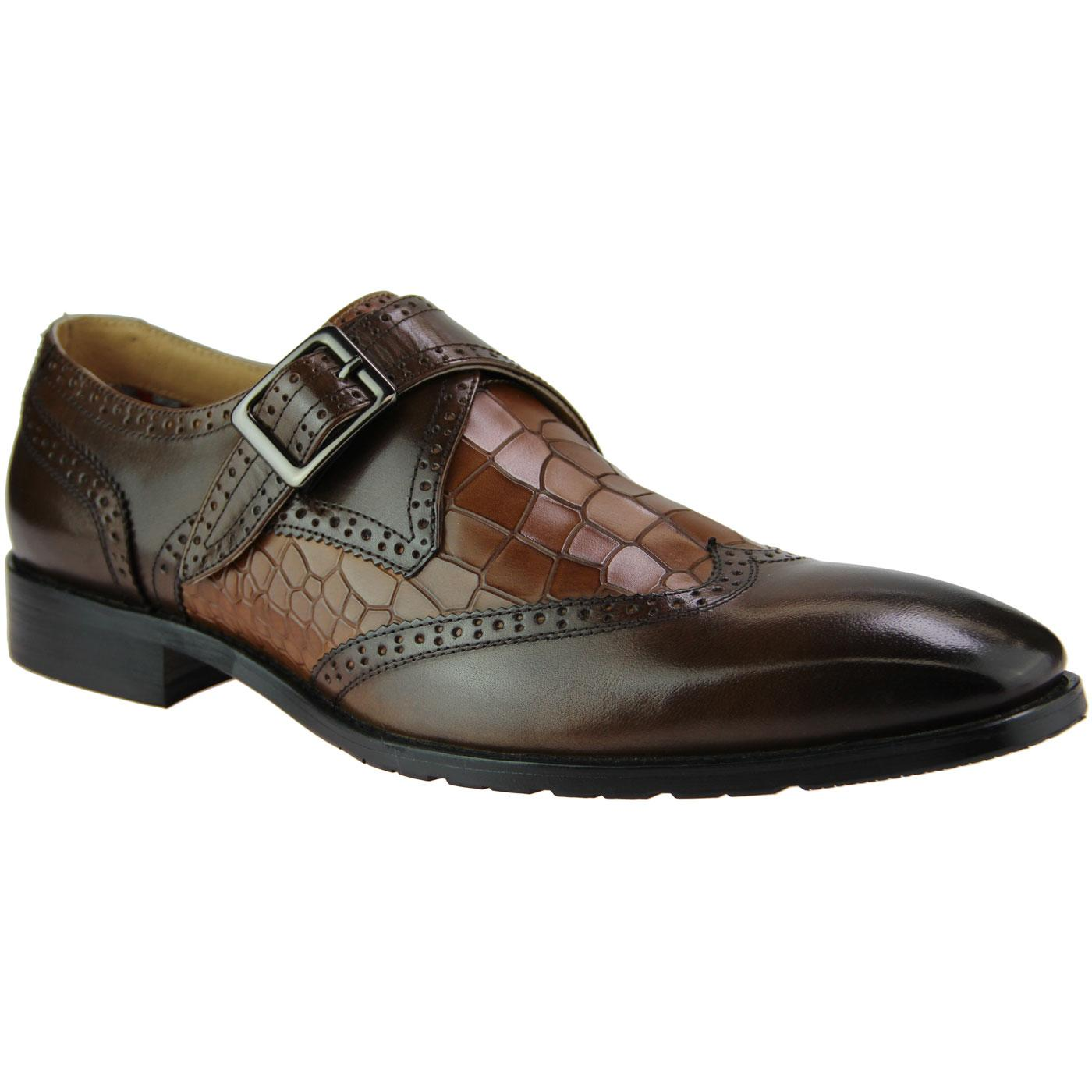 Cutler PAOLO VANDINI Croc Monk Strap Brogues BROWN